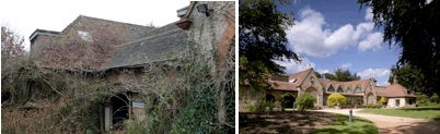 The Watts Gallery exterior before (2006) and after (2011) restoration. Credits: Anne Perkiss and Richard Bryant respectively.